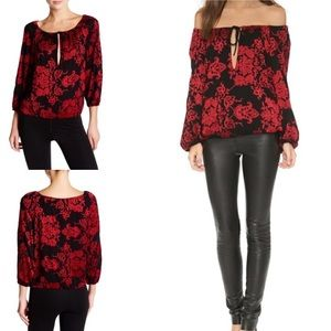 Alice + Olivia Embroidered Peasant Floral Blouse S